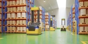 agv forklift trucks transport more with safety warehouse 3d rendering 41470 2905