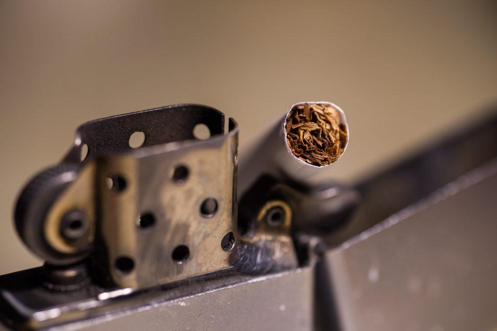closeup shot cigarette zippo lighter