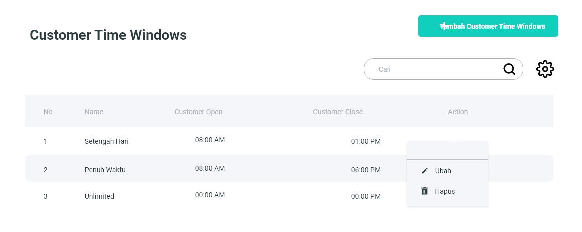 customer time window 1