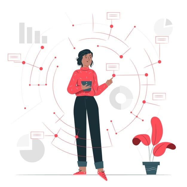 integrasi data ilustrasi merah 3