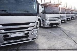 group trucks parked row