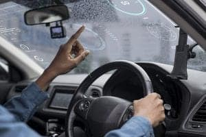interactive transparent window screen smart car