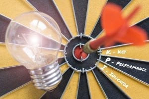 kpi key performance indicator with idea lamp target 1
